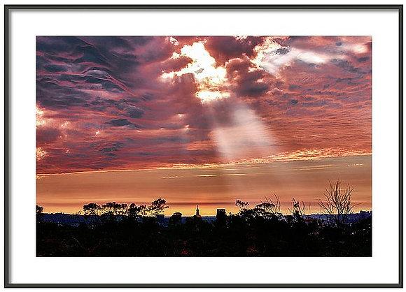 God Rays On East Hollywood Framed