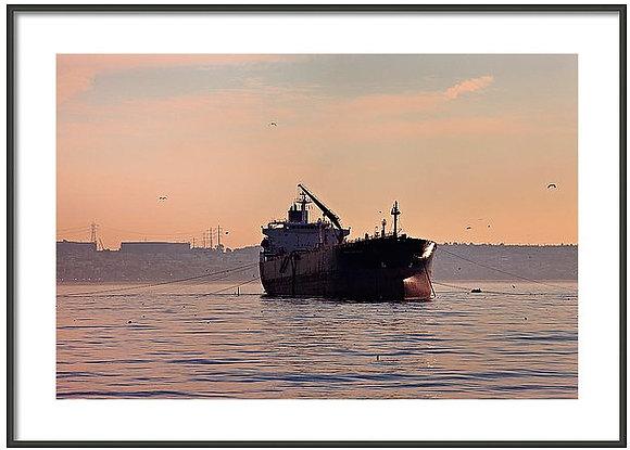 Freighter Off El Segundo Framed