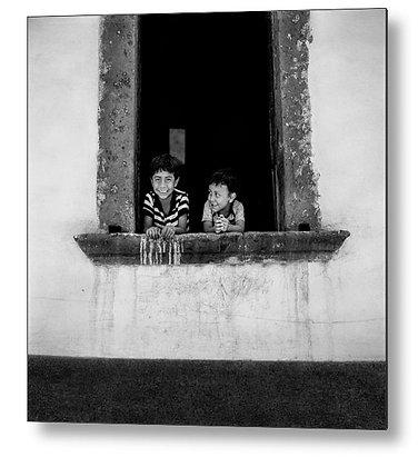Brothers In The Window Metal Print