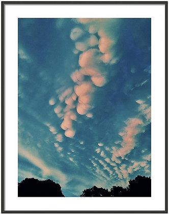 Cotton Ball Clouds Framed