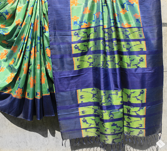 OR/AP/RKC- 26/14- Maldah low twist silk with ikat calligraphy abstract design
