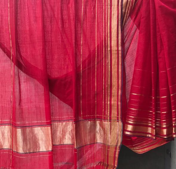 D. No. 112- Plain red body extra warp gold zari borders