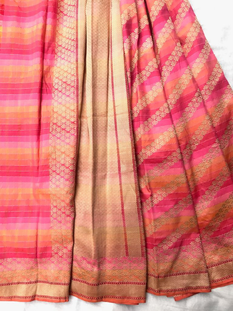 CC- 22/16 SL- 2 - Low twist Karnataka 7 color silk warp with loom embroidered body pattern in zari