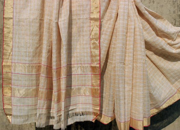 D. No. 192- Plain brown/ white cotton with zari check