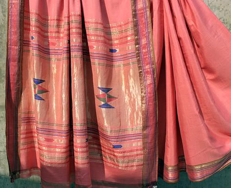 Maha- 9B-174/14 - Karnataka low twist silk warp, ambar khadi weft 150s count 3 shuttle woven pure silk borders
