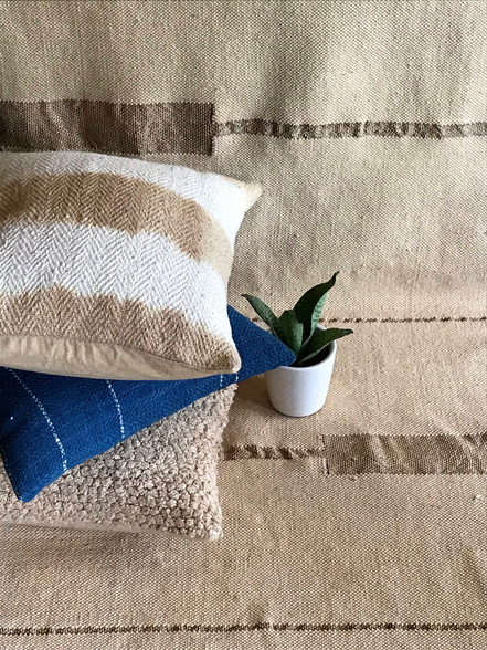 TIE DYED CUSHION, HANDSPUN CUSHIONS, COTTON RUG WITH METAL DESIGN