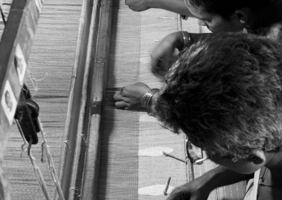 Inlay pattern created on loom