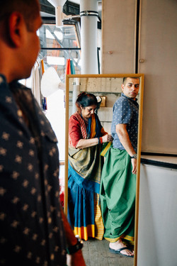 PARTICIPANT LEARNING TO DRAPE DHOTI