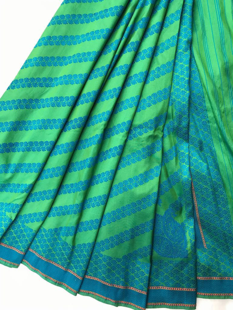 CC 09 /15 SL -1 Low twist silk sari with loom embroidered body pattern and border