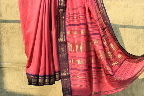 Maha- 11/171/14 –  low twist silk warp, ambar khadi weft 150s count 3 shuttle woven pure silk borders