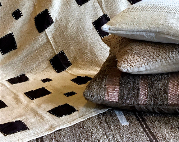 HAND APPLIQUED BEDCOVER, SILK AND COTTON CUSHIONS