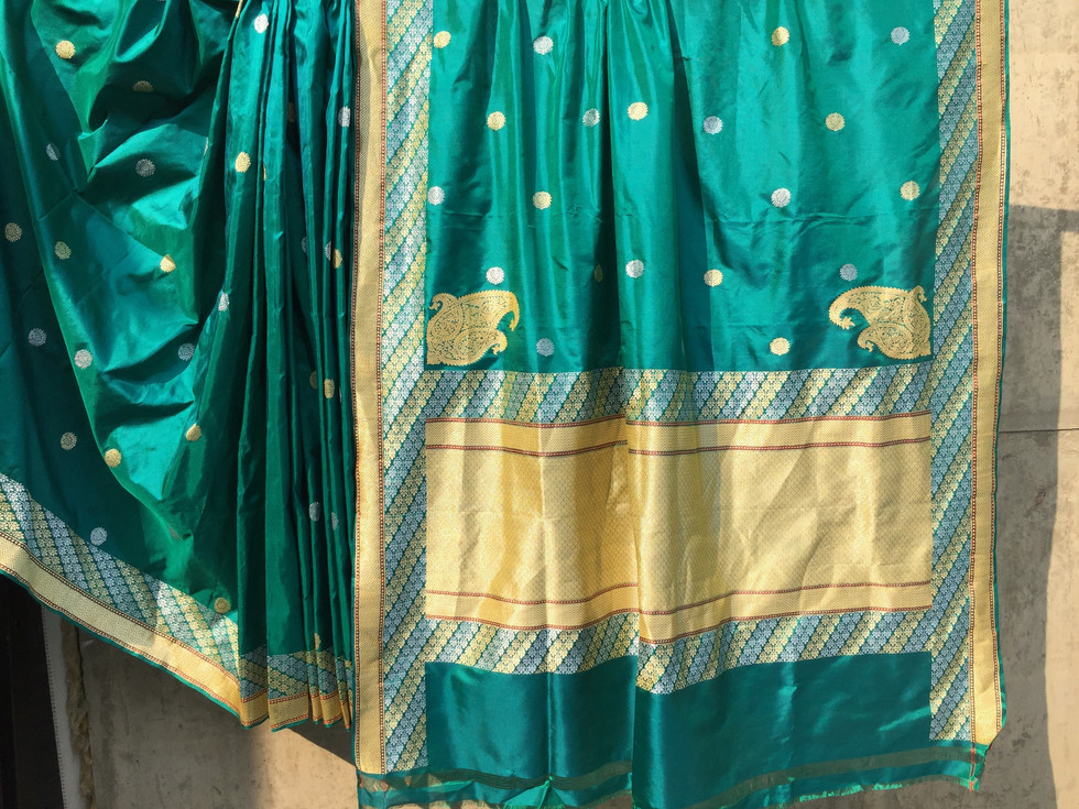 CC-103/17.SL-2 Low twist silk sari with loom embroidered body pattern and border