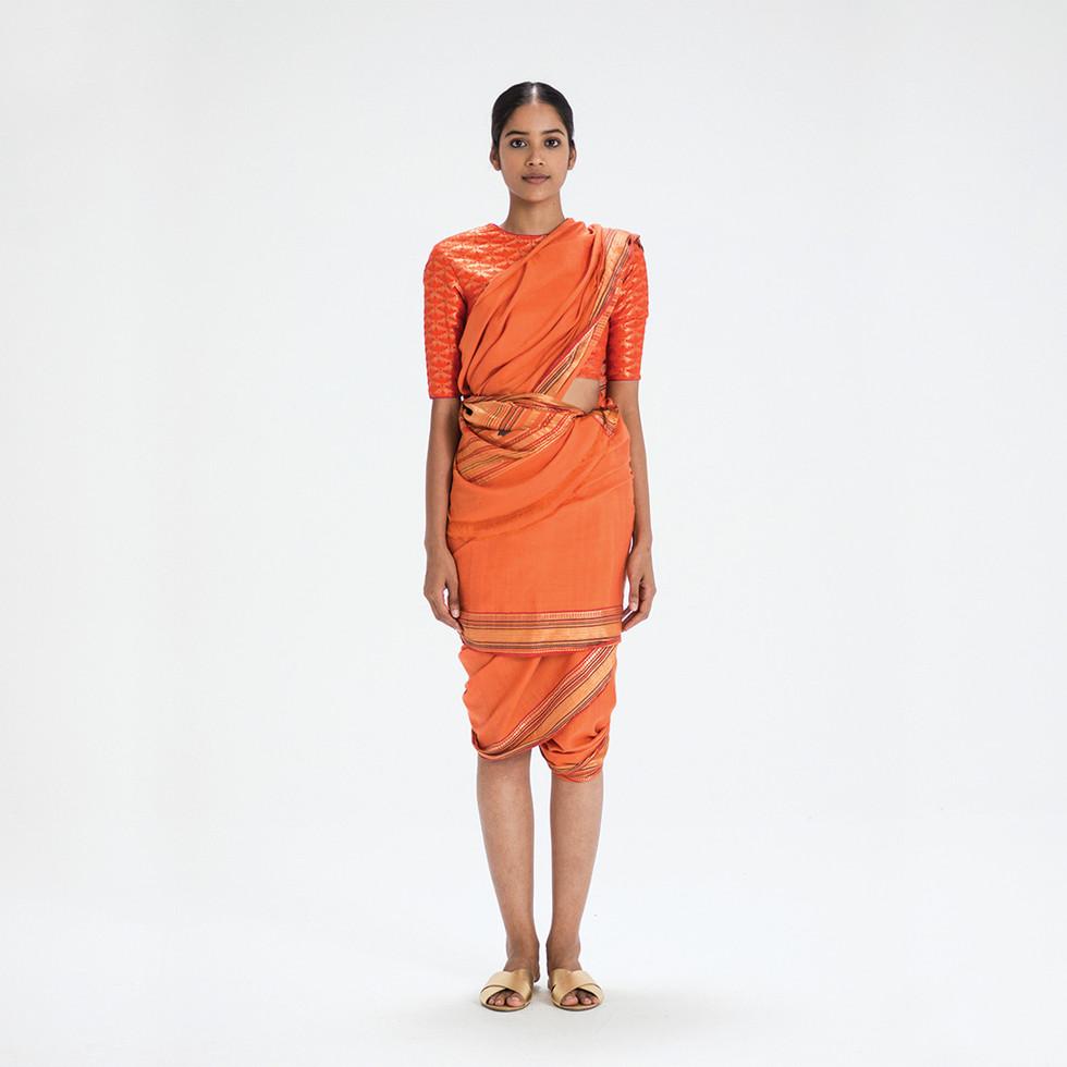 Maharashtra silk/ambar cotton khadi sari worn in Dhangad style from Goa