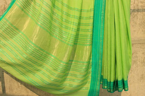 Maha-8 - Karnataka low twist silk warp ambar khadi weft 150s count 3 shuttle woven pure silk paithani  border & palloo