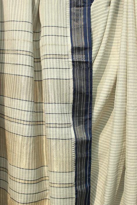 Maha- 18/16- Karnataka low twist silk warp, ambar khadi weft 150s count 3 shuttle woven pure silk borders with warp stripes