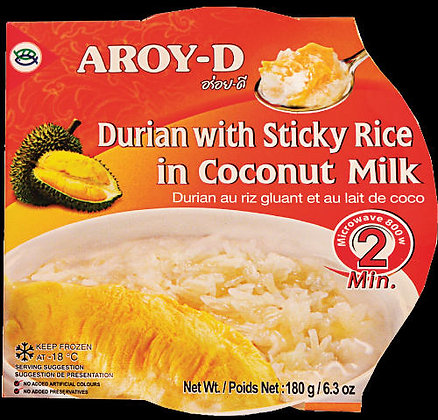 DURIAN WITH STICKY RICE IN COCONUT MILK