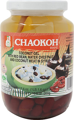 COCONUT GEL, RED BEAN, WATER CHESTNUT, COCONUT MEAT IN SYRUP