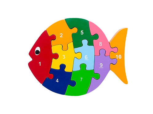 Fish Wooden Numbers Eco-friendly Preschool Puzzle