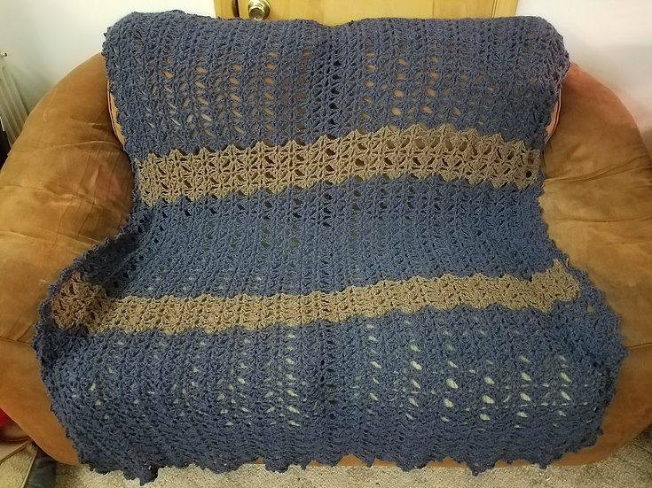 AFGHAN: CROCHETED, 100% ALPACA