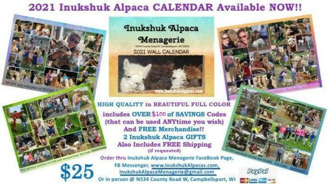 2021 CALENDAR featuring Inukshuk Alpacas