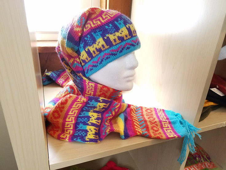 HAT & SCARF: ONE PIECE, ALPACA BLEND, VARIOUS COLOR COMBINATIONS