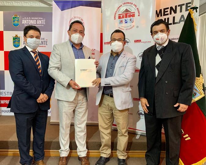 Empresas públicas de UTN y Municipio de Antonio Ante firman convenio para innovar en proyectos
