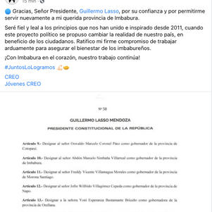 Marcelo Simbaña es el nuevo Gobernador de Imbabura