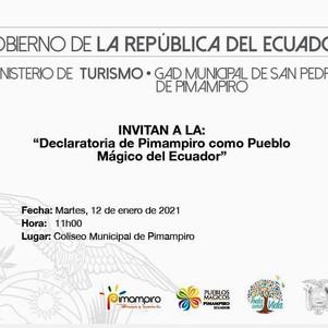 Pimampiro recibirá el 12 de enero del 2021 la declaratoria oficial de Pueblo Mágico