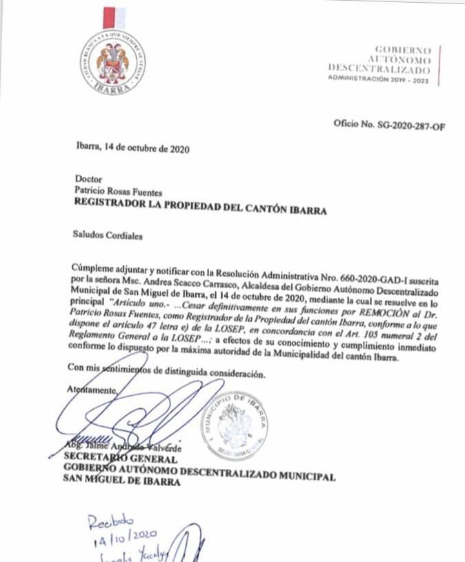 Polémica por remoción de Registrador de la Propiedad de Ibarra
