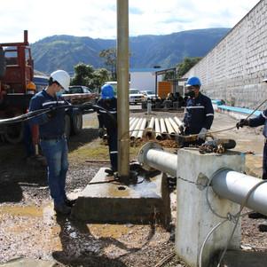 Mantenimiento y limpieza de pozos de Caranqui, La Quinta y Santa Clara