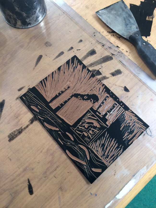 A linocut plate ready for print