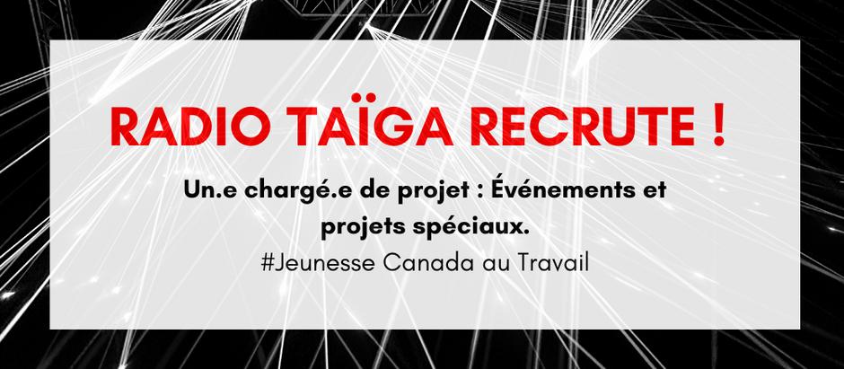 Jeunesse Canada au Travail - Radio Taïga est à la recherche d'un.e chargé.e de projets.
