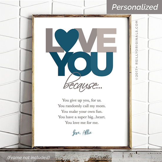 Love You Because - Personalized SmileCard™ (Blue)