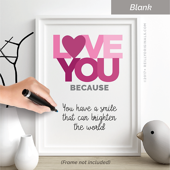 Love You Because Personalized SmileCard™ (Pink)