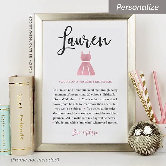 You're an Awesome Bridesmaid - Personalized SmileCard™