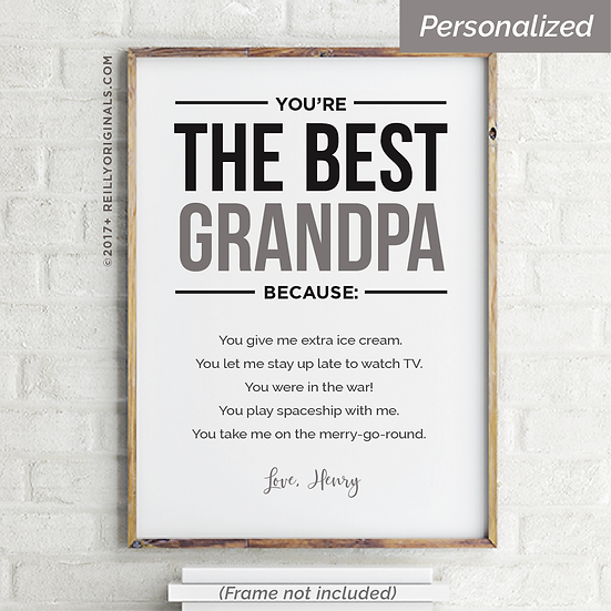 You're The Best Grandpa Because - Personalized Smile Card™ (Neutral)