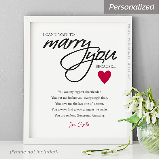 I Can't Wait To Marry You Because - Personalized Smile Card™