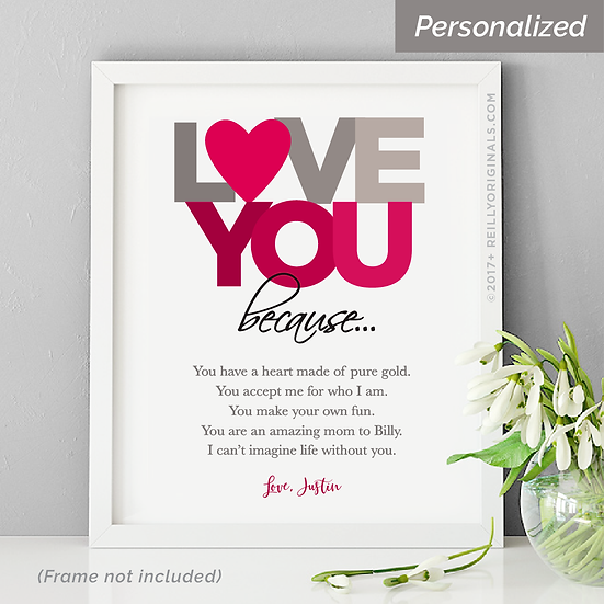 """Love You Because"" Personalized Smile Card™ (red)"