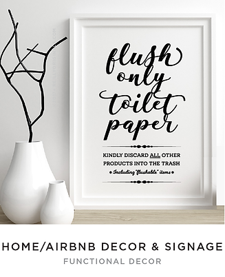 Airbnb Bathroom Sign Signage Flush Toile