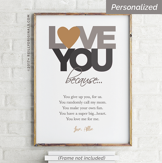 """""""Love You Because"""" Personalized Smile Card™ (Neutral)"""
