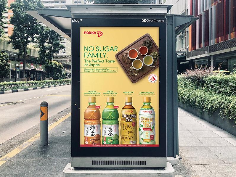 Pokka No Sugar Tea Range Bus Stop Ad