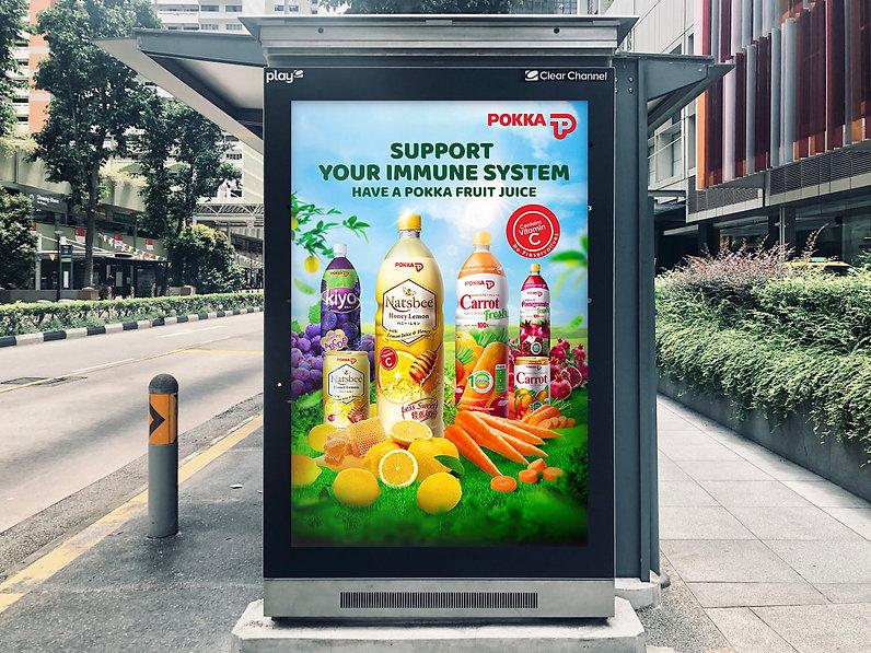 Pokka Juice Range Bus Stop Ad