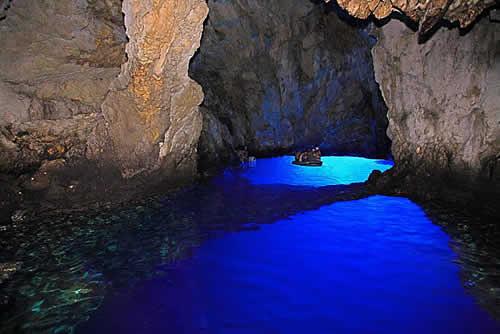 Blue underwater cave in Bisevo