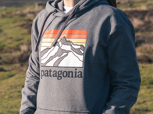 Patagonia Mountain Logo Hoodie (Wolf Grey / Sunset Orange)