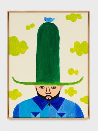 Portait au grand chapeau vert
