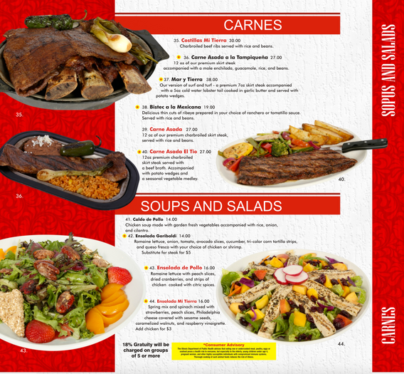Carnes & Soups and Salads