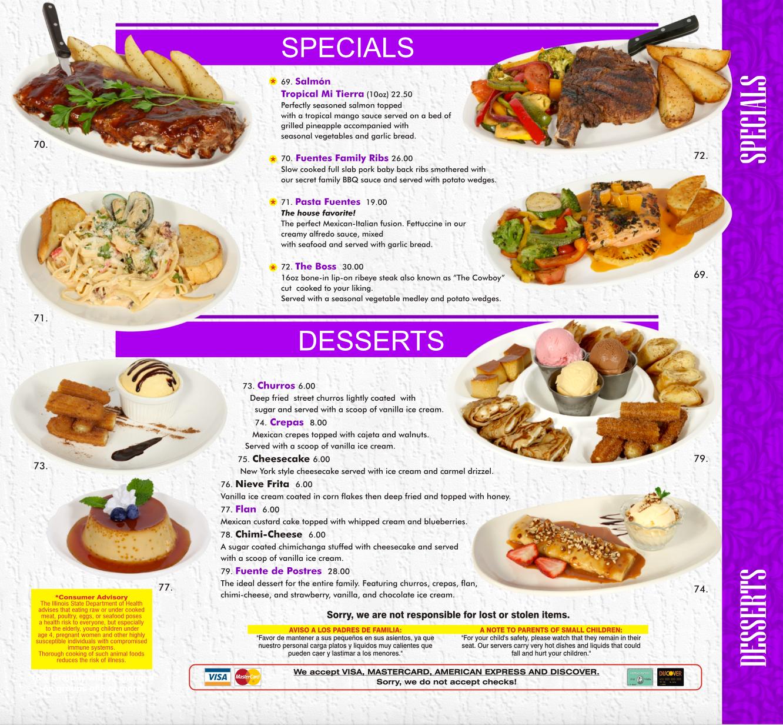 Specials & Desserts
