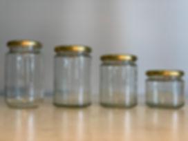 Mézesüvegek, konzervüvegek, lekváros üveg, lapka, konzervtető