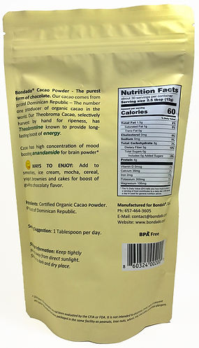 Raw cacao powder label