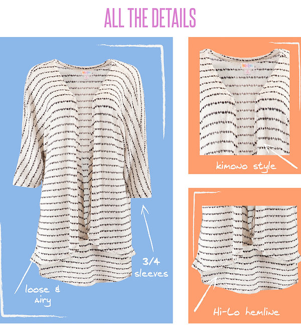 """LuLaRoe's """"Lindsay"""" kimono, features loose, 3/4 length sleeves and a scooped """"high-low"""" hemline that drapes and flatters. The Lindsay's polyester, lace and chiffon    fabrics are delicate, durable and versatile. The Lindsay is airy, comfortable, beautiful and is sure to become your go-to layering piece."""